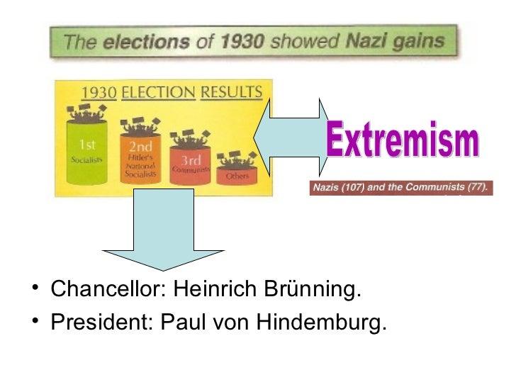 • Chancellor: Heinrich Brünning.• President: Paul von Hindemburg.