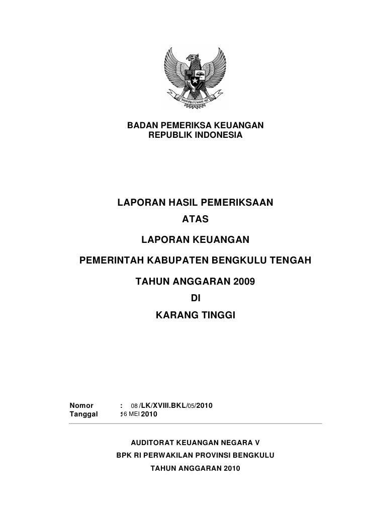 BADAN PEMERIKSA KEUANGAN               REPUBLIK INDONESIA          LAPORAN HASIL PEMERIKSAAN                           ATA...