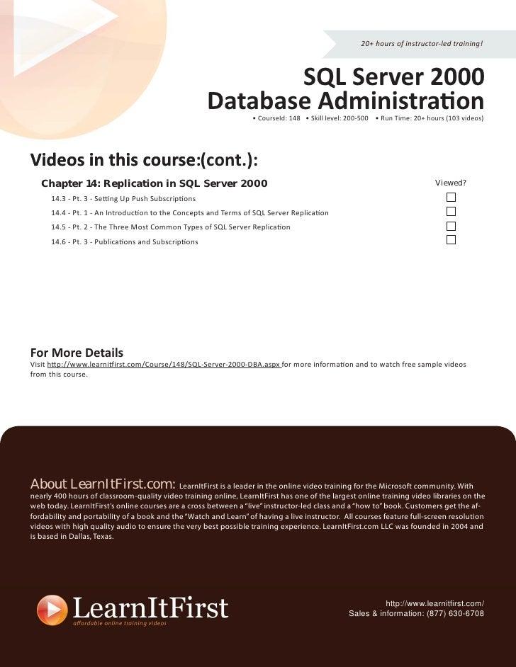 SQL Server 2000 Database Administration LearnItFirst com