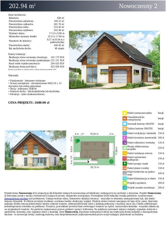 202.94 m2Nowoczesny 2Dane techniczne:Kubatura: 829 m3Powierzchnia zabudowy: 160.12 m2Powierzchnia całkowita: 281.76 m2Powi...