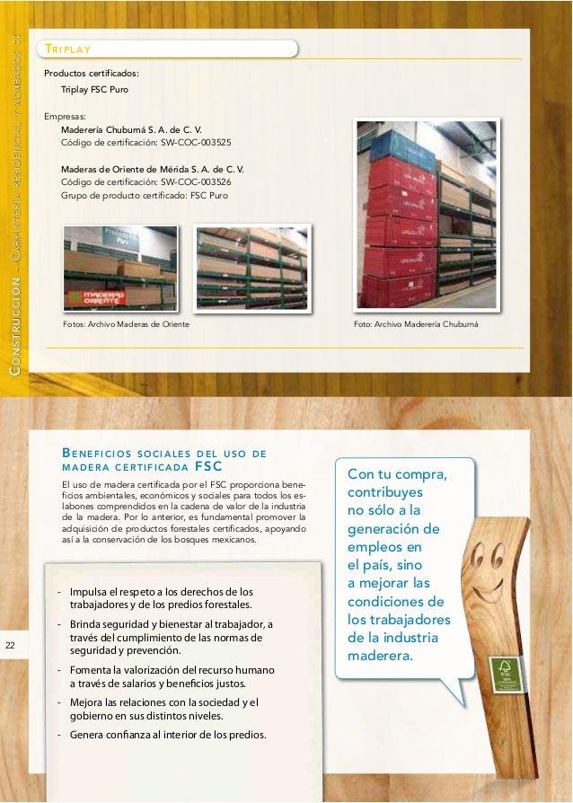 catálogo de productos maderables certificados