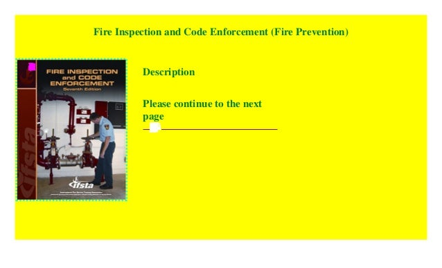 Fire Inspection and Code Enforcement (Fire Prevention ...