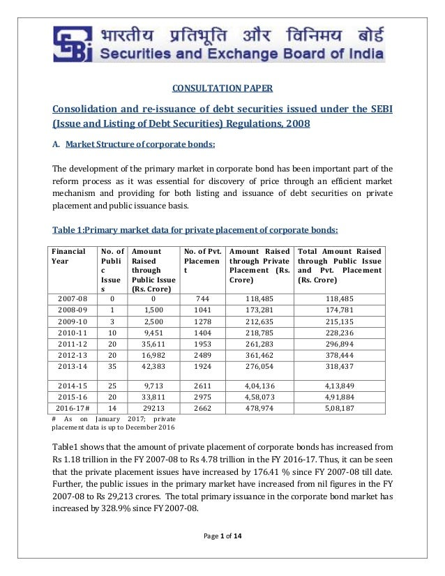 Consolidation and re-issuance of debt securities issued under the SEB…