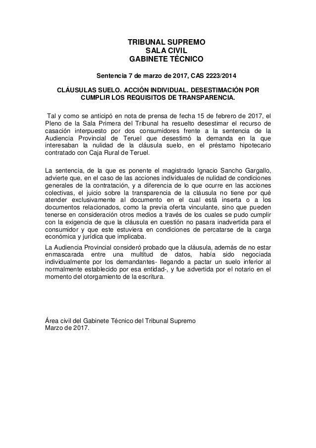 Tribunal supremo 7 de marzo de 2017 clausula suelo for Clausula suelo tribunal supremo hoy