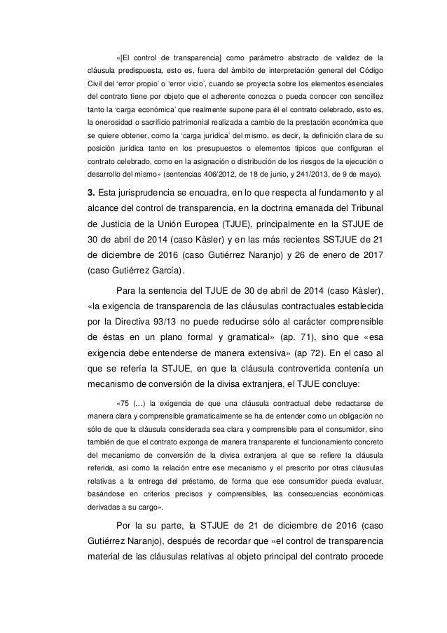 Tribunal supremo 7 de marzo de 2017 clausula suelo for Clausula suelo significado