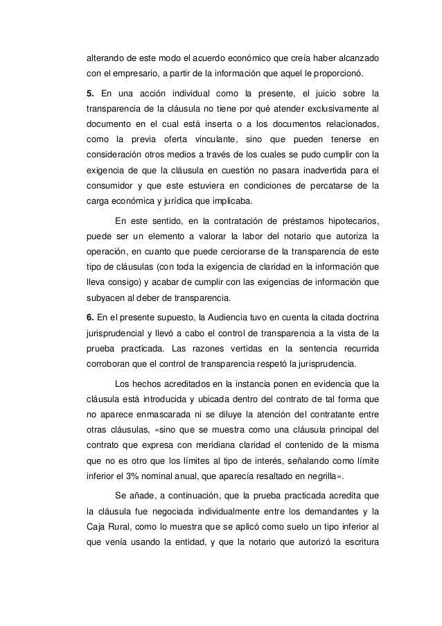 Tribunal supremo 7 de marzo de 2017 clausula suelo Clausula suelo empresario