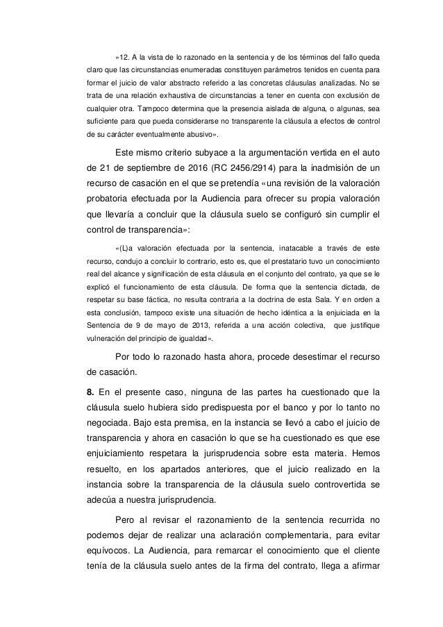 Tribunal supremo 7 de marzo de 2017 clausula suelo for Juicio clausula suelo