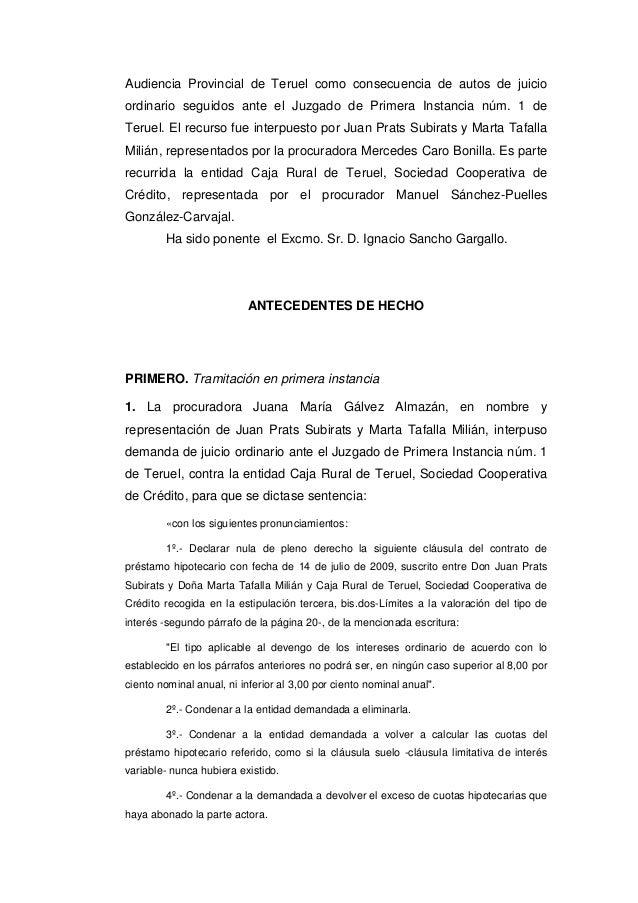 Tribunal supremo 7 de marzo de 2017 clausula suelo for Caja rural de teruel oficinas