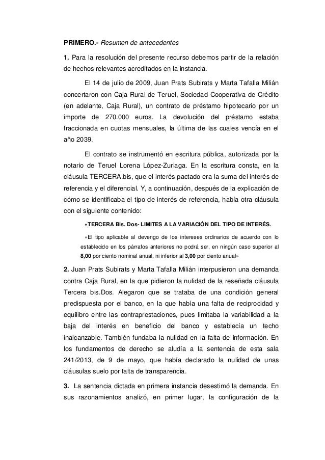 Tribunal supremo 7 de marzo de 2017 clausula suelo for Resolucion clausula suelo