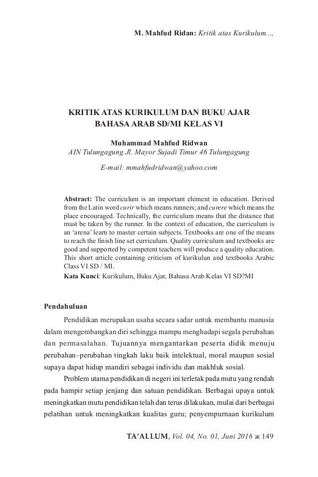 TA'ALLUM, Vol. 04, No. 01, Juni 2016 ж 149 M. Mahfud Ridan: Kritik atas Kurikulum..., KRITIK ATAS KURIKULUM DAN BUKU AJAR ...