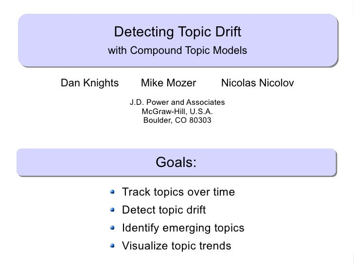 Detecting Topic Drift                      with Compound Topic Models            Dan Knights       Mike Mozer             ...