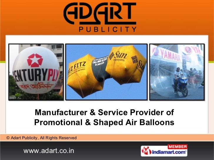 Manufacturer & Service Provider of Promotional & Shaped Air Balloons