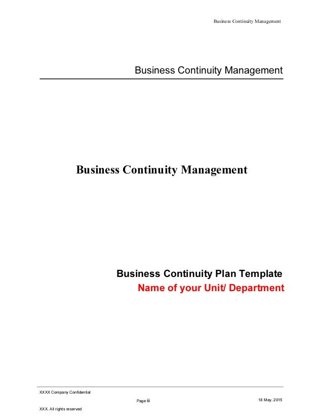 business resumption plan template - business continuity plan bcp template