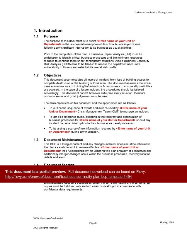 Business continuity plan bcp template for Business resumption plan template