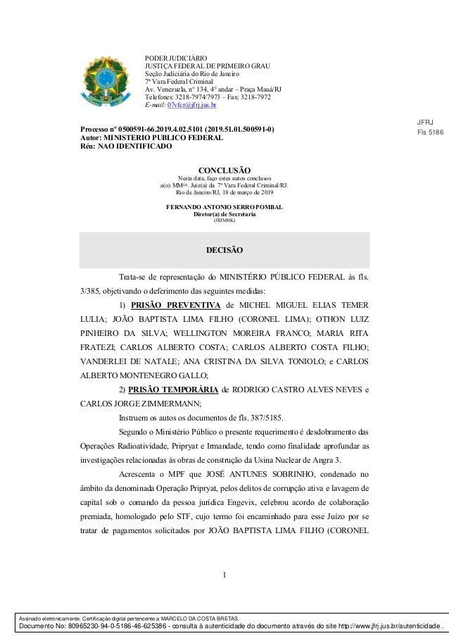 1 PODER JUDICIÁRIO JUSTIÇA FEDERAL DE PRIMEIRO GRAU Seção Judiciária do Rio de Janeiro 7ª Vara Federal Criminal Av. Venezu...