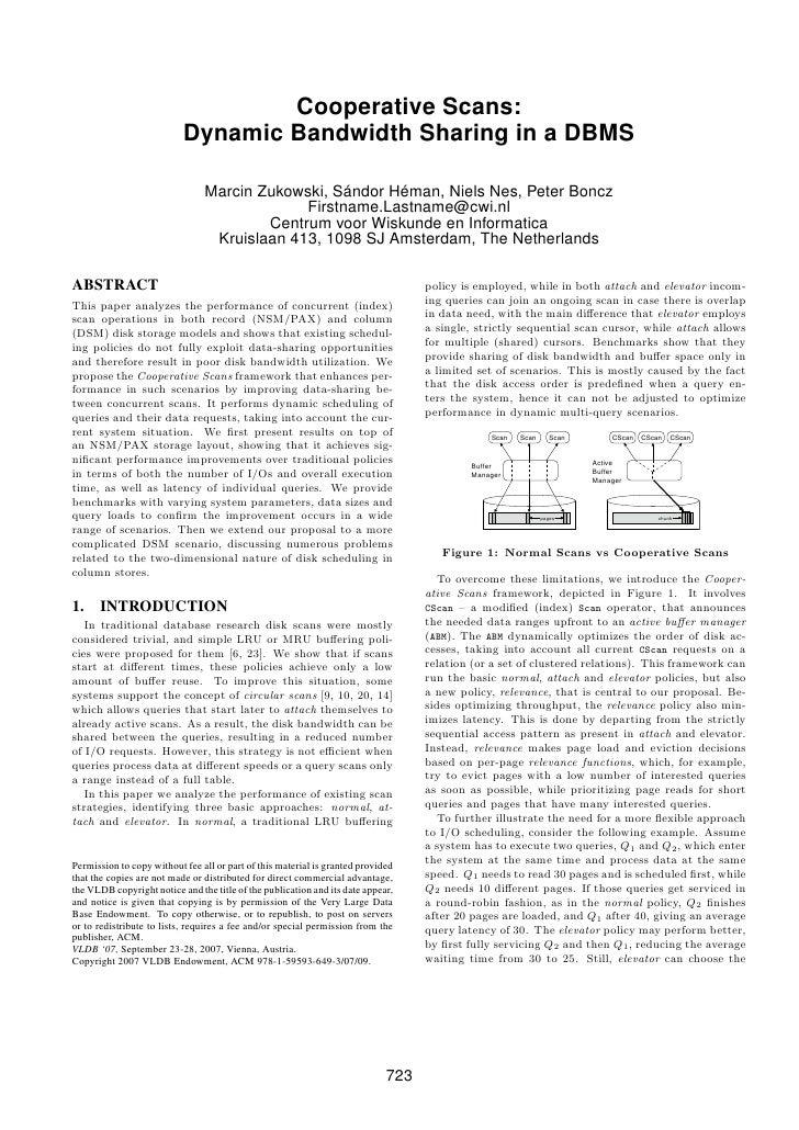 Cooperative Scans:                            Dynamic Bandwidth Sharing in a DBMS                                  Marcin ...