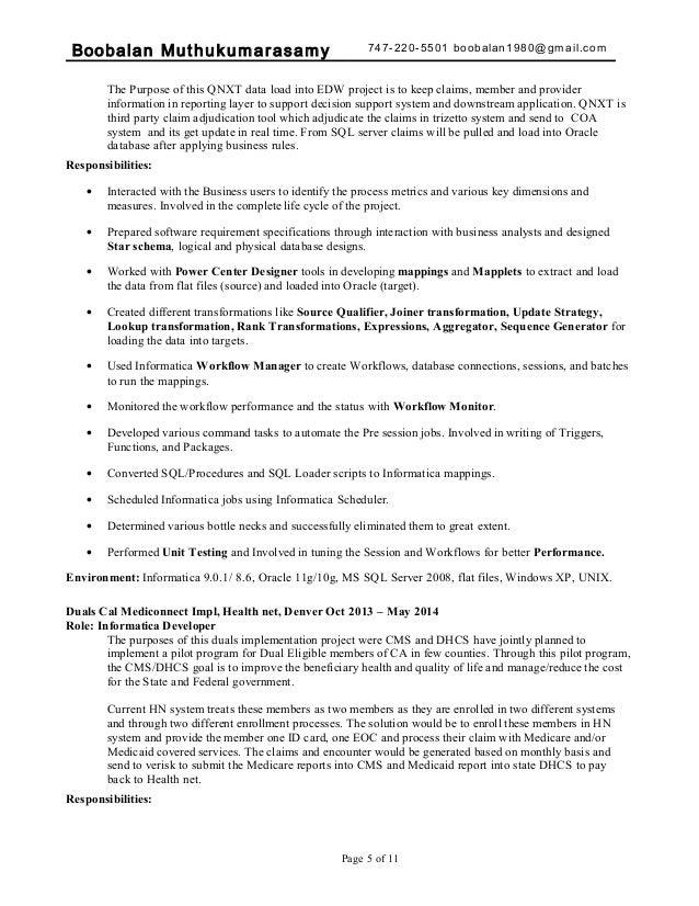 Sql Developer Qnxt Resume