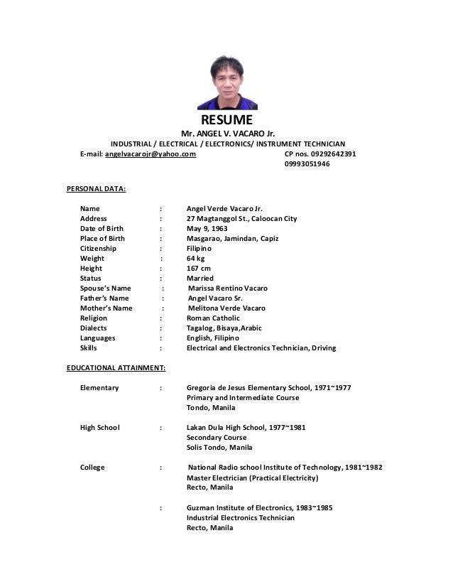 ... Bms Operator Resume Pdf by Vacaro Jr Resume Autosaved ...
