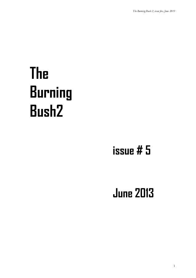 The Burning Bush 2, issue five, June 2013  The Burning Bush2 issue # 5 June 2013  1