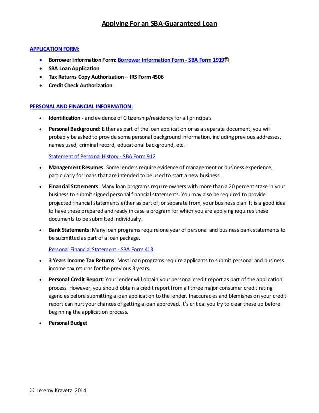 Applying For An SBA Guaranteed Loan