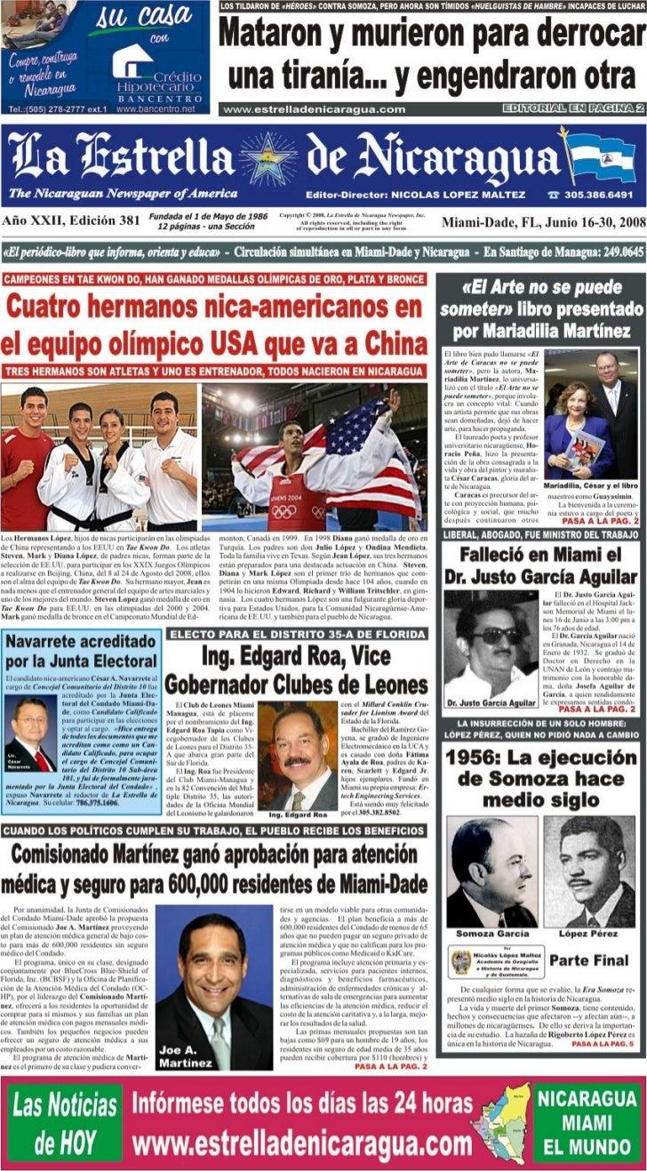 La Estrella de Nicaragua - n.º 381 – 16.06.2008