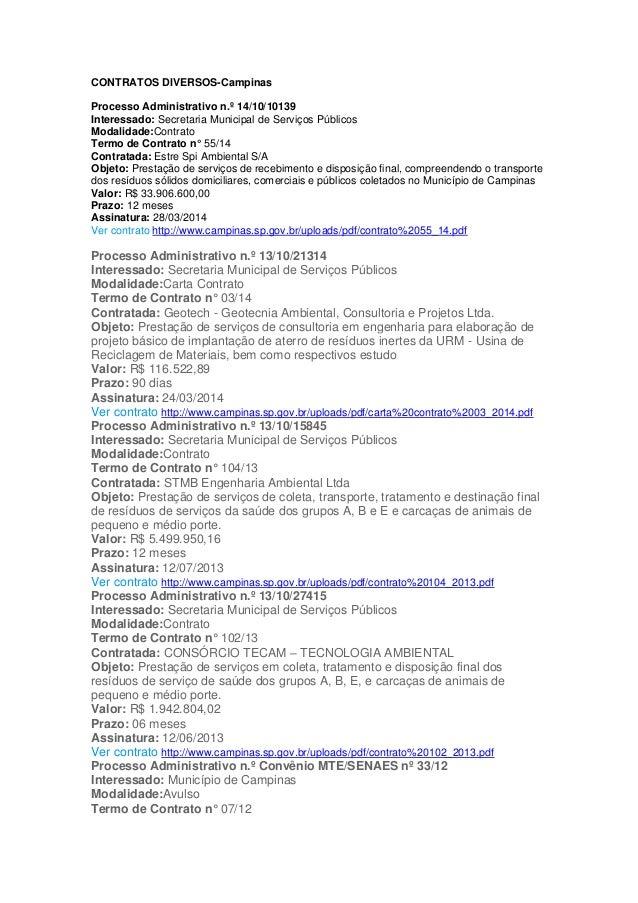 CONTRATOS DIVERSOS-Campinas Processo Administrativo n.º 14/10/10139 Interessado: Secretaria Municipal de Serviços Públicos...