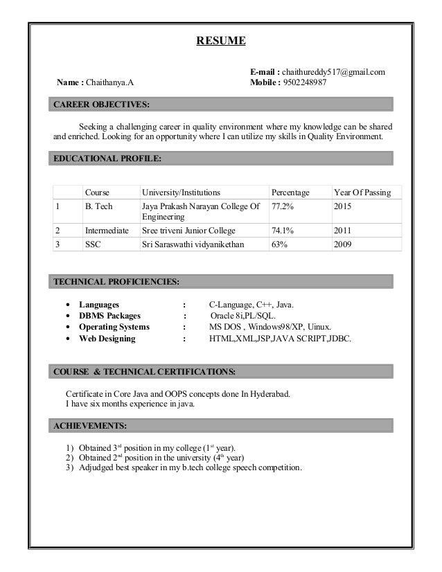 RESUME E-mail : chaithureddy517@gmail.com Name : Chaithanya.A Mobile : 9502248987 CAREER OBJECTIVES: Seeking a challenging...