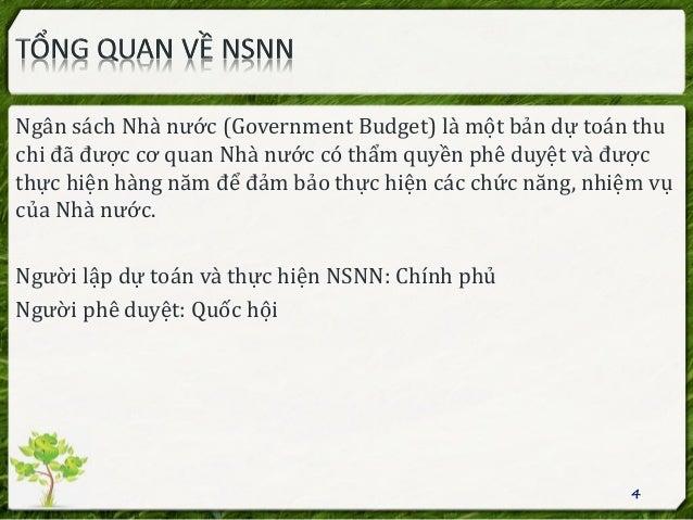 Ngân sách Nhà nước (Government Budget) là một bản dự toán thu chi đã được cơ quan Nhà nước có thẩm quyền phê duyệt và được...