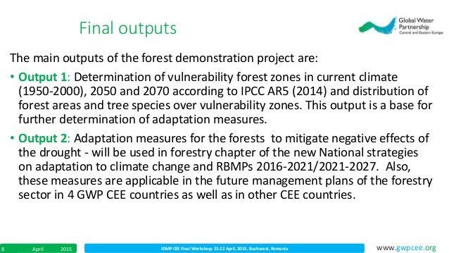 IDMP CEE Final Workshop; 21-22 April, 2015, Bucharest, RomaniaApril 20158 www.gwpcee.org The main outputs of the forest de...