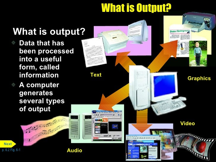 What is Output? <ul><li>What is output? </li></ul><ul><li>Data that has been processed into a useful form, called informat...