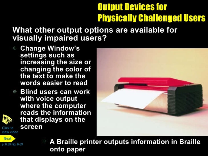 input and output devices for physically challenged users