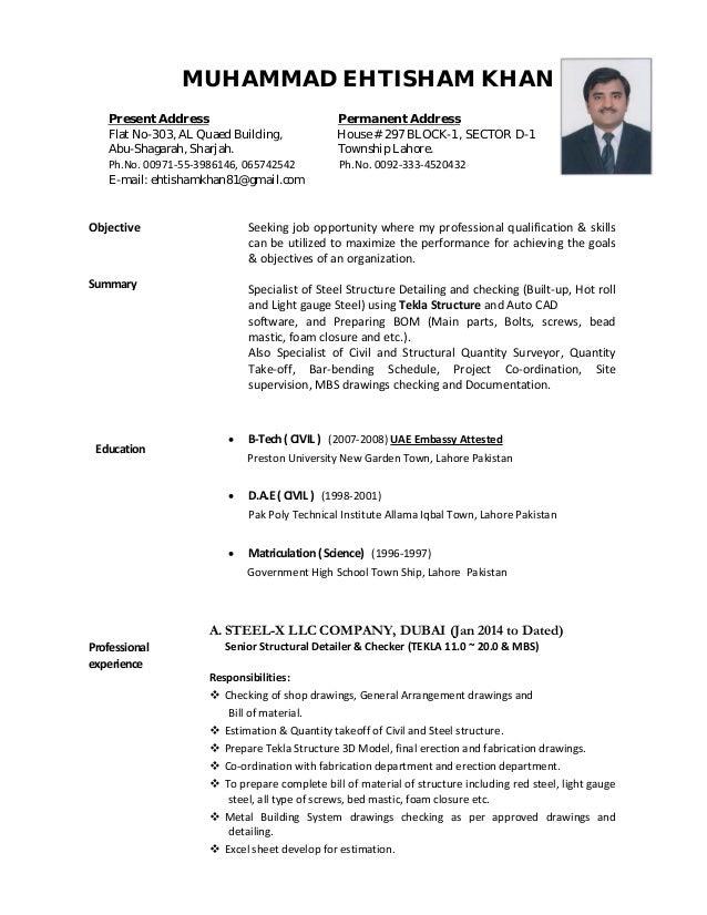 steel detailer resume