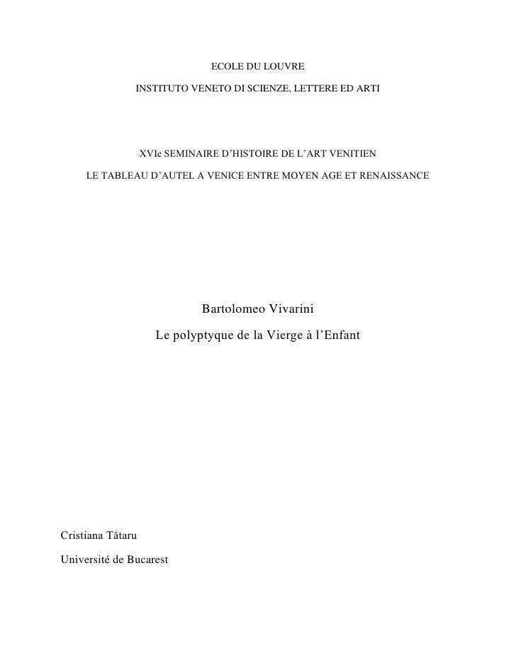 ECOLE DU LOUVRE               INSTITUTO VENETO DI SCIENZE, LETTERE ED ARTI                   XVIe SEMINAIRE D'HISTOIRE DE ...