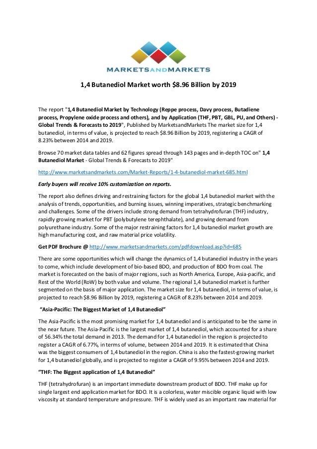 "1,4 Butanediol Market worth $8.96 Billion by 2019 The report ""1,4 Butanediol Market by Technology (Reppe process, Davy pro..."
