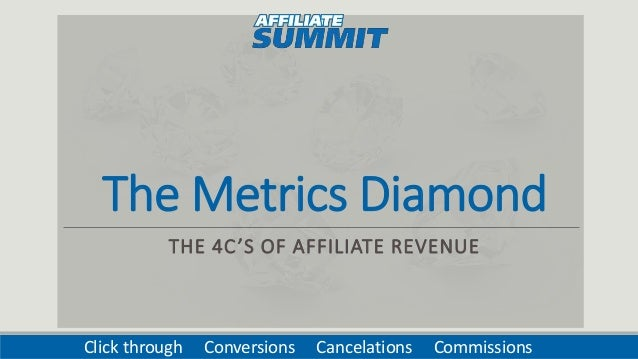 The Metrics Diamond THE 4C'S OF AFFILIATE REVENUE Click through Conversions Cancelations Commissions