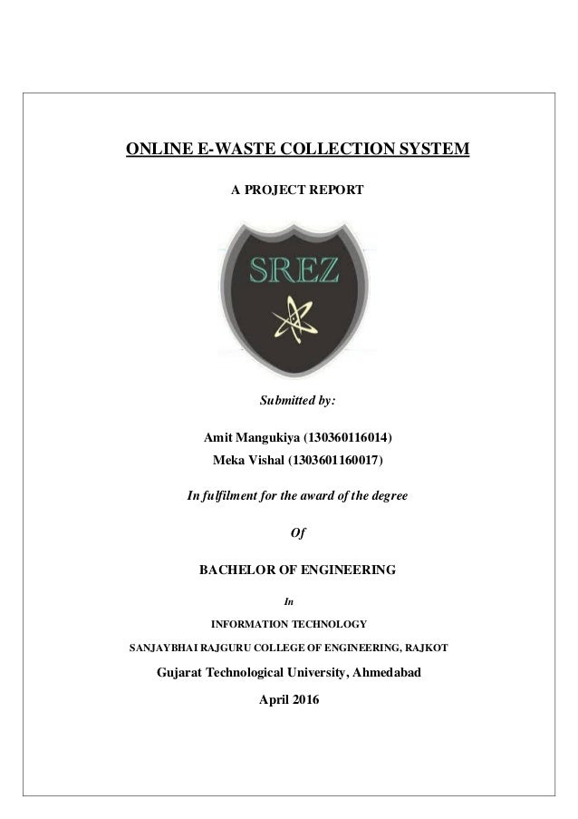 ONLINE E-WASTE COLLECTION SYSTEM project Report (Approved)
