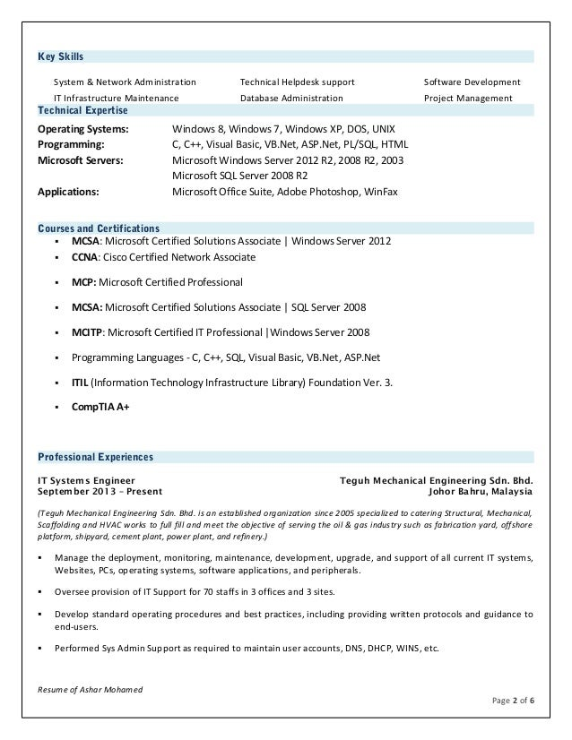 System Administrator Resume Samples VisualCV Resume Samples Database  Systems Administrator Resume