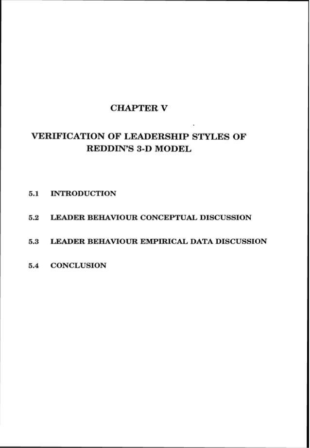 C TER V VERIFICATION OF LEADERSHIP S ES OF REDDIN'S 3-D MODEL 5.1 INTRODUCTION 5.2 LEADER BEHAWOUR CONCEPTUAL DISCUSSION 5...