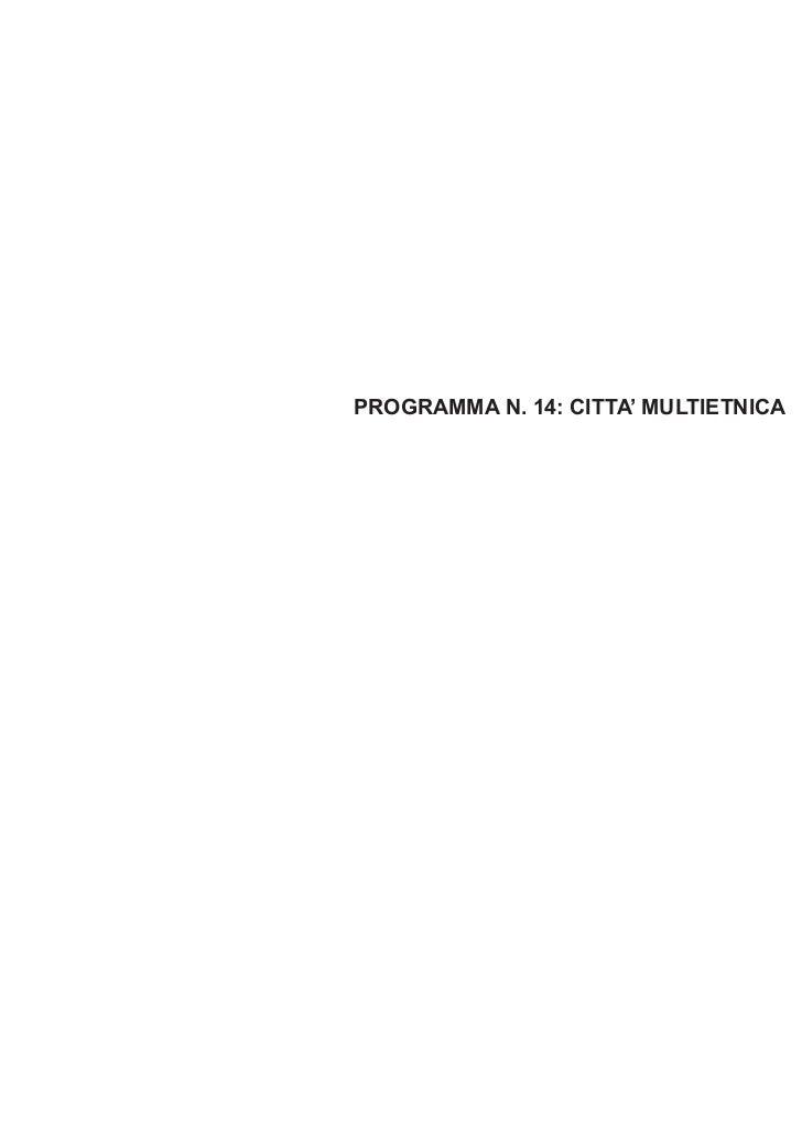 PROGRAMMA N. 14: CITTA' MULTIETNICA