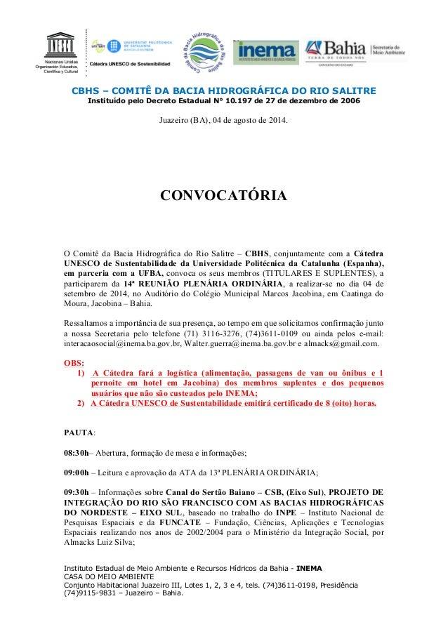 CBHS – COMITÊ DA BACIA HIDROGRÁFICA DO RIO SALITRE Instituído pelo Decreto Estadual N° 10.197 de 27 de dezembro de 2006 In...