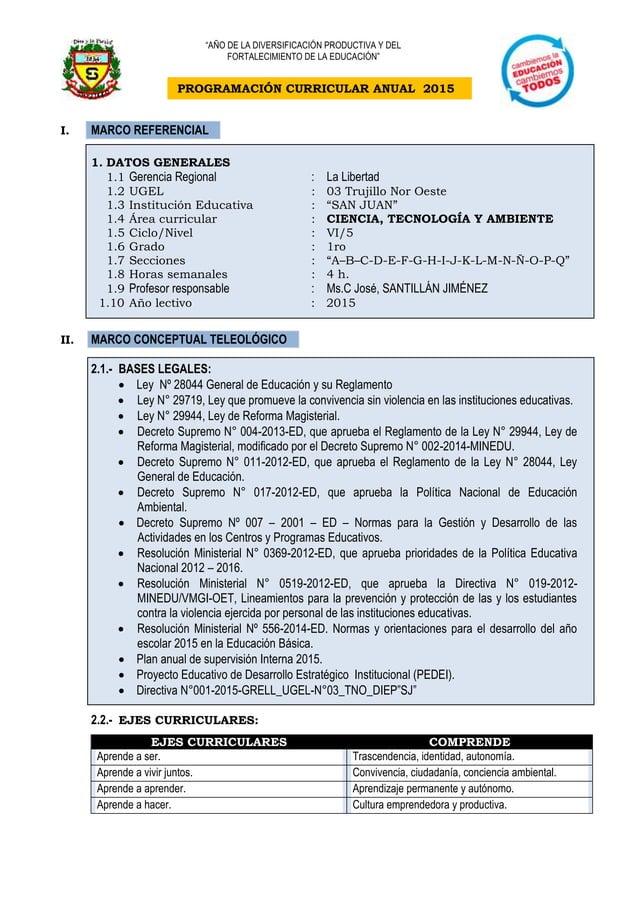 PROGRAMACIÓN CURRICULAR ANUAL 2015 I. MARCO REFERENCIAL 1. DATOS GENERALES 1.1 Gerencia Regional : La Libertad 1.2 UGEL : ...