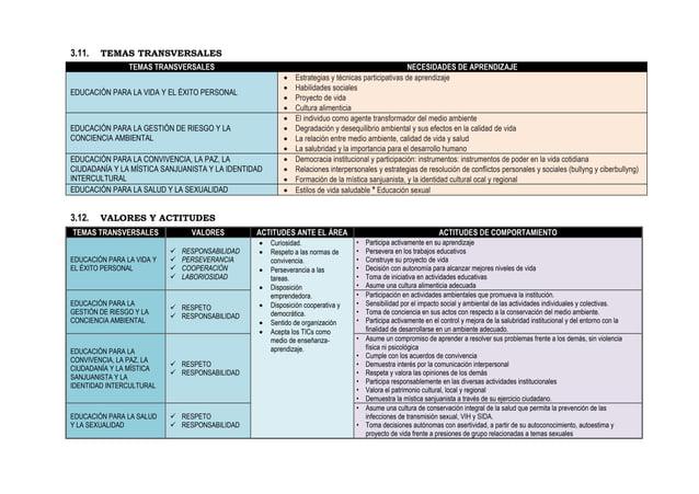 3.11. TEMAS TRANSVERSALES TEMAS TRANSVERSALES NECESIDADES DE APRENDIZAJE EDUCACIÓN PARA LA VIDA Y EL ÉXITO PERSONAL  Estr...