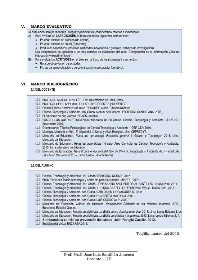 V. MARCO EVALUATIVO La evaluación será permanente, integral y participativa, considerando criterios e indicadores. A) Para...