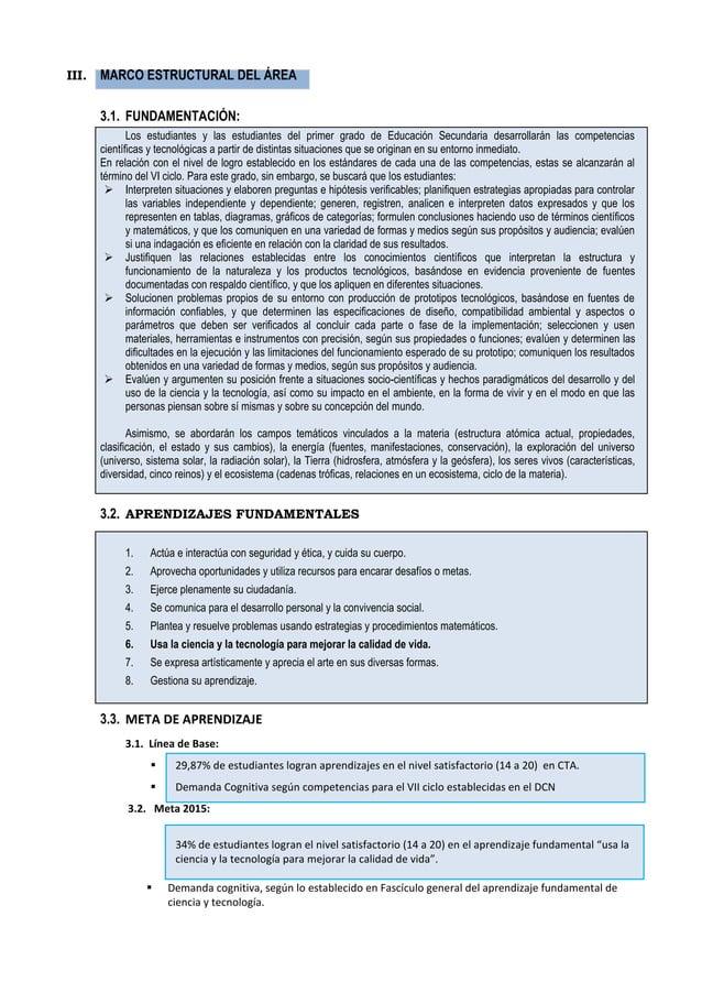 III. MARCO ESTRUCTURAL DEL ÁREA 3.1. FUNDAMENTACIÓN: Los estudiantes y las estudiantes del primer grado de Educación Secun...
