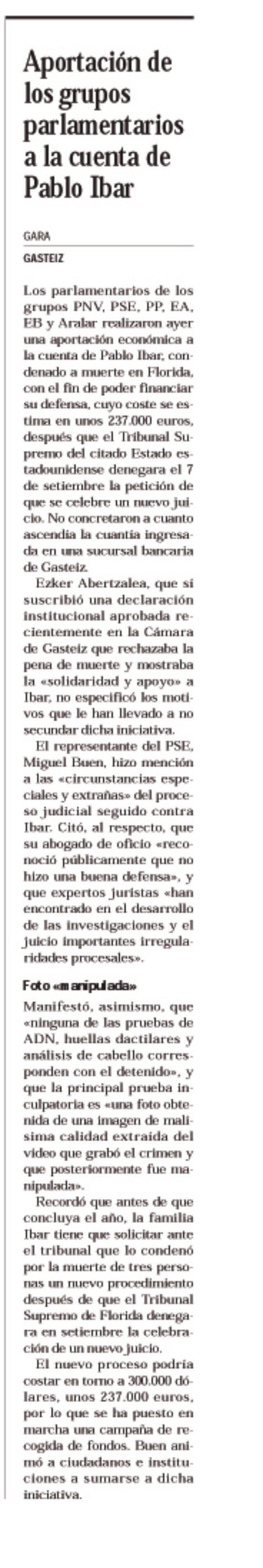 Aportación de los grupos parlamentarios a la cuenta de Pablo Ibar