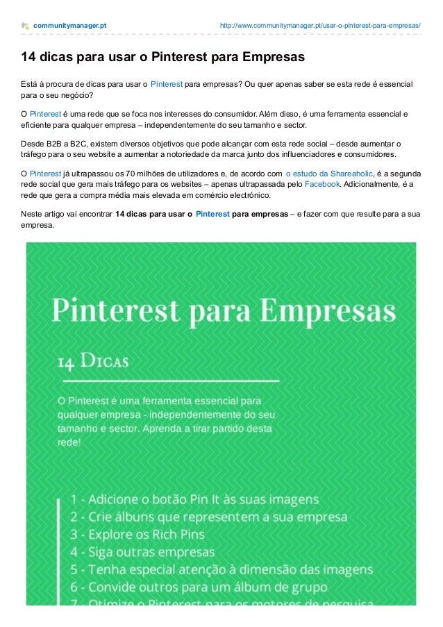 communitymanager.pt http://www.communitymanager.pt/usar-o-pinterest-para-empresas/ 14 dicas para usar o Pinterest para Emp...