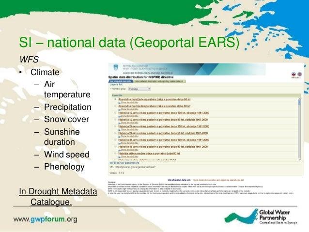 SI – national data (Geoportal EARS) WFS • Climate – Air temperature – Precipitation – Snow cover – Sunshine duration – Win...
