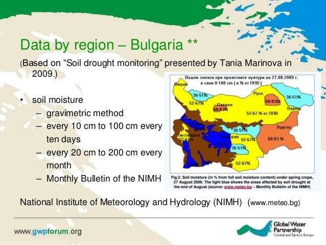 "Data by region – Bulgaria ** (Based on ""Soil drought monitoring"" presented by Tania Marinova in 2009.) • soil moisture – g..."