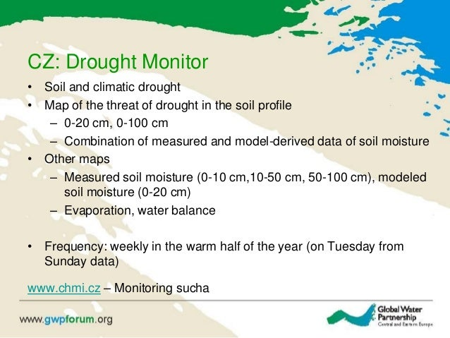 CZ: Drought Monitor • Soil and climatic drought • Map of the threat of drought in the soil profile – 0-20 cm, 0-100 cm – C...