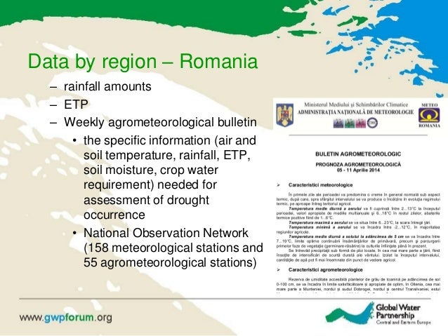 Data by region – Romania – rainfall amounts – ETP – Weekly agrometeorological bulletin • the specific information (air and...